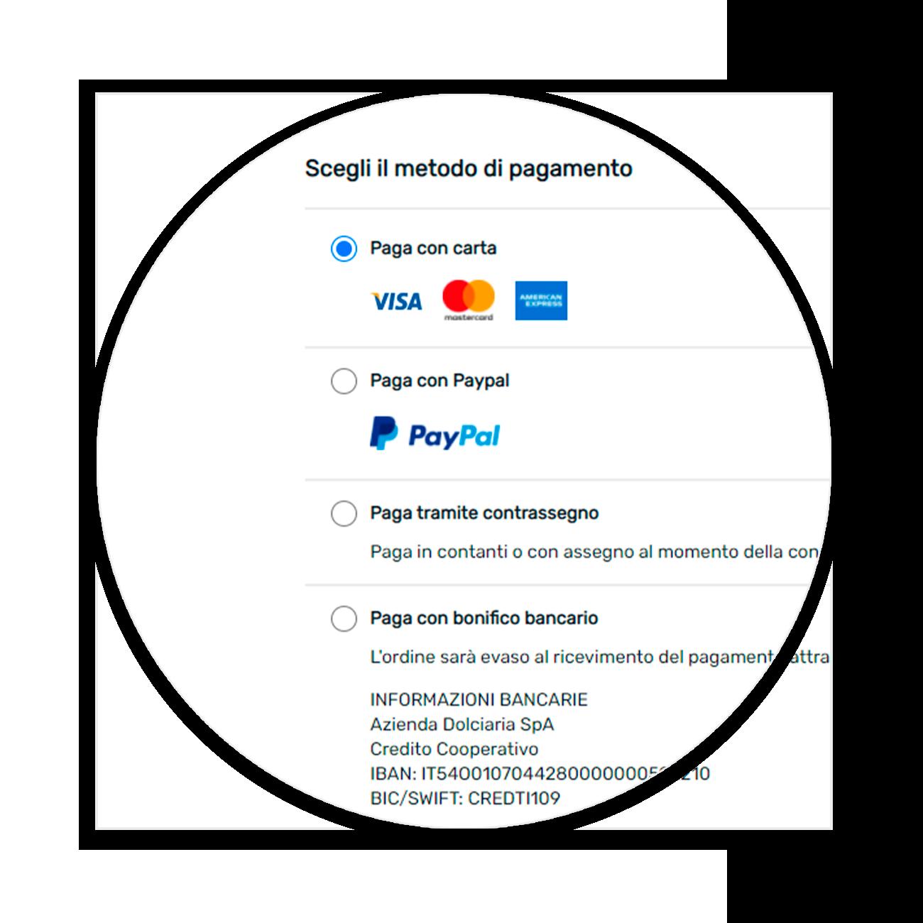 scelta metodi di pagamento